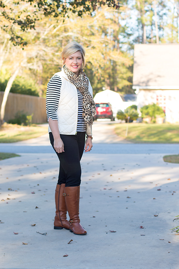 leopard scarf outift, riding boots outfit, stripes
