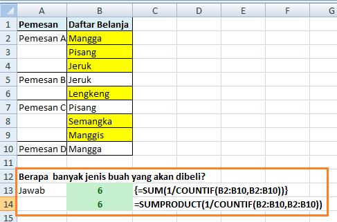 Formula Excel Menghitung Banyaknya Nilai Unik