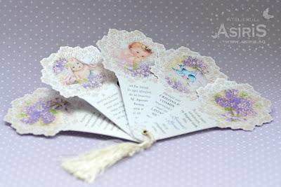 Invitatii botez deosebite evantai cu 5 file personalizat cu ilustratii bebelus
