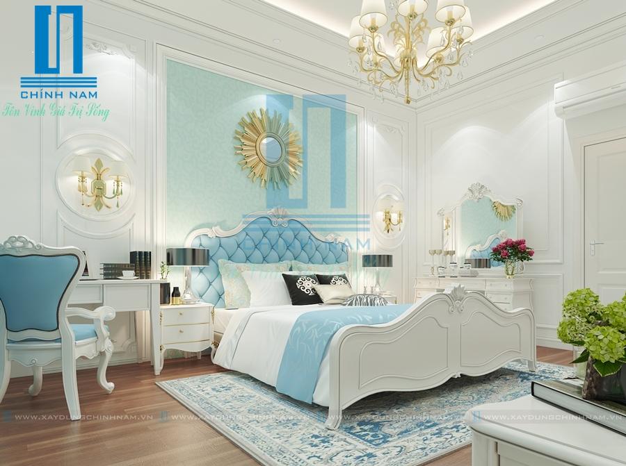 Thiết kế nội thất phòng ngủ sang trọng với tông màu trắng, xanh ngọc