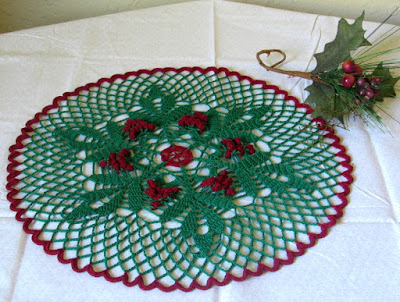 Holly Berries and Leaves Doily - Hand-Crocheted By RSS Designs In Fiber - Sold