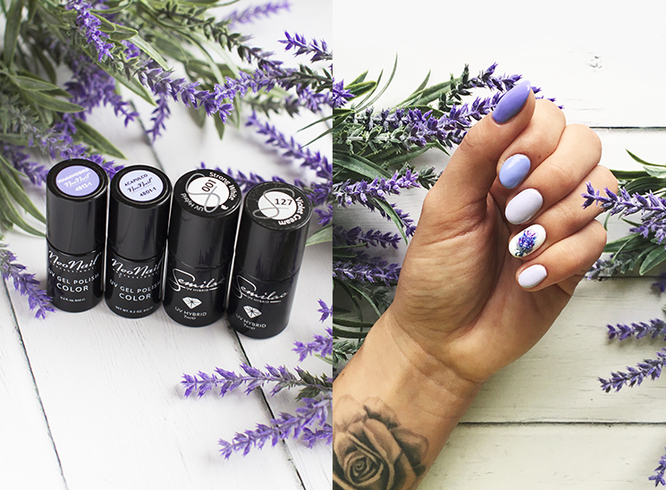 Fioletowy, lawendowy manicure SEMILAC 127 VIOLET CREAM, 001 STRONG WHITE NEONAIL ACAPULCO, HUMMINGBIRD