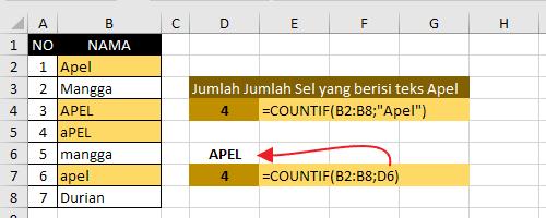Contoh Fungsi CountIf Excel 3