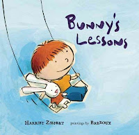 Bunny's Lessons book cover with boy and bunny on a swing