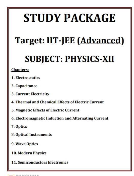 PHYSICS STUDY PACKAGE IIT JEE ADVANCED