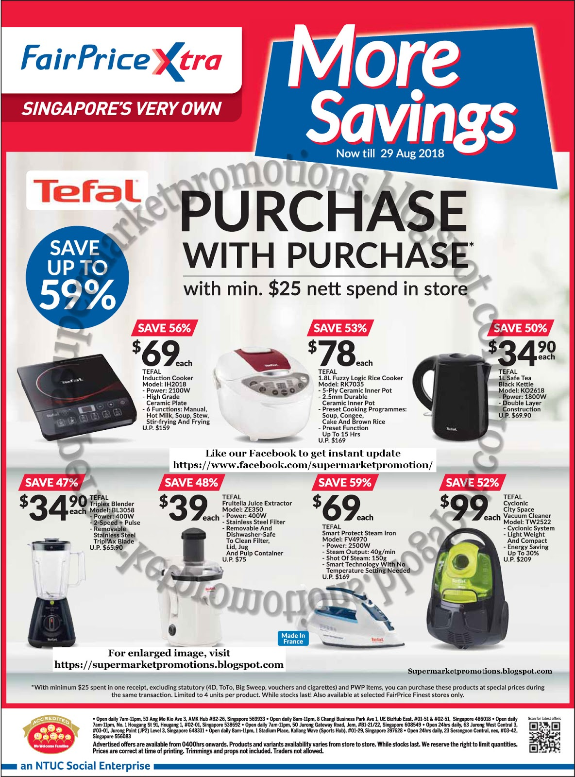 Ntuc Fairprice Xtra Tefal Promotion 16 29 August 2018