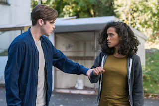 "Alexander Calvert as Jack and Yadira Guevara-Prip as Kaia Nieves in Supernatural 13x09 ""The Bad Place"""