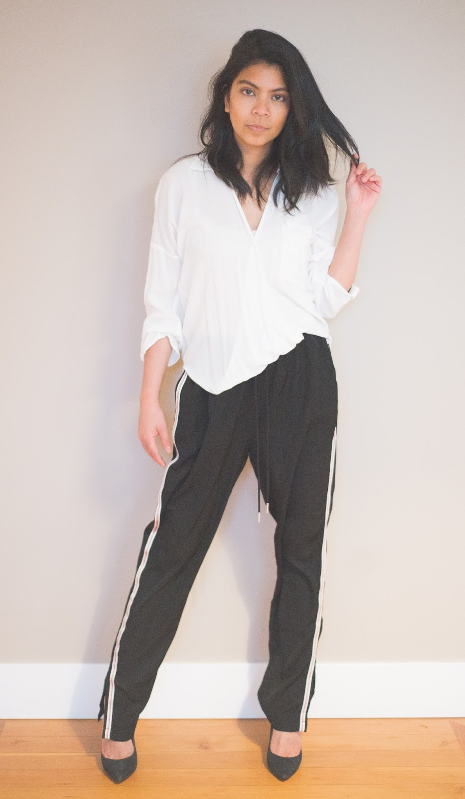 track pants, athleisure, black pumps, white button up shirt, portland fashion blogger, spring 2017, how to wear, fashion blogger, on trend