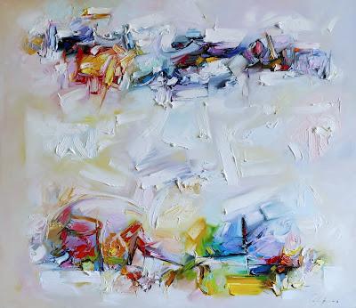 Obraz olejny na płótnie - abstrakcja w jasnych kolorach