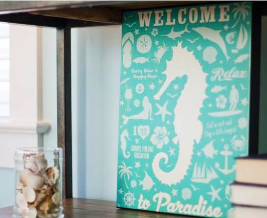 Vintage Retro Seahorse Sign by Anderson Design Group