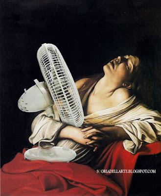 fotomontaggi satirici di dipinti famosi- Caravaggio-Maria Maddalena in estasi con ventilatore