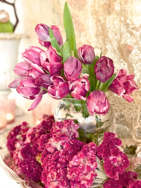 Valentine's Day Bouquet; Nora's Nest, pink tulips, pink cockscombs, silver platter and vase