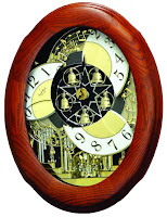 Joyful Nostalgia Oak Magic Motion Musical Clock - Open