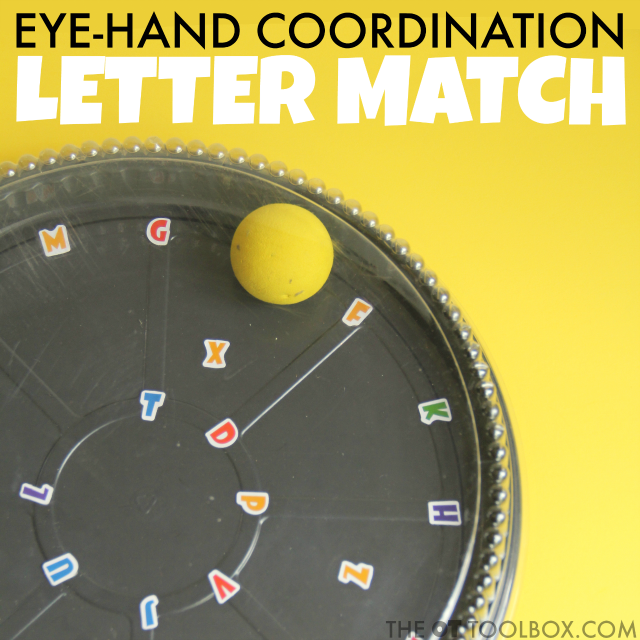 A hand-eye coordination activity for kids that helps with visual skills like convergence, visual tracking, visual scanning, and motor components like bilateral coordination, precision, and motor planning needed for the eye-hand coordination that are worked on in occupational therapy activities.