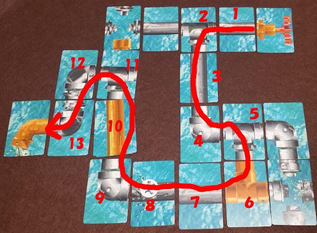 水道管ゲーム 13枚で完成した経路