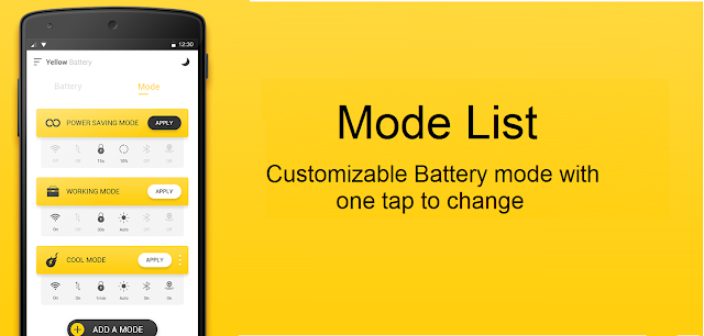 Set modes in Yellow Battery app to save battery