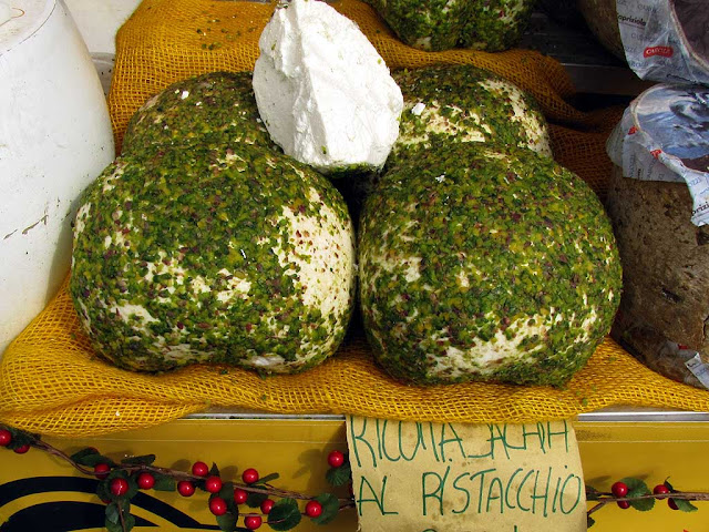 Ricotta salata al pistacchio, salted ricotta cheese with pistachios, food fair, Livorno