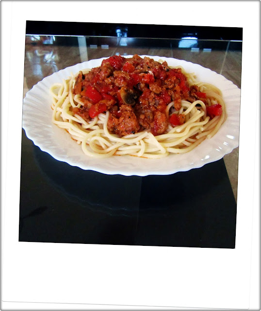 Spaghetti z Papryką i Pieczarkami