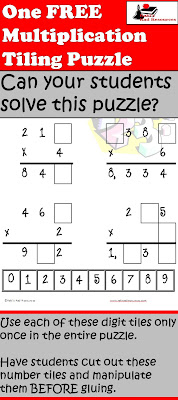 Free multiplication tiling puzzle from Raki's Rad Resources.