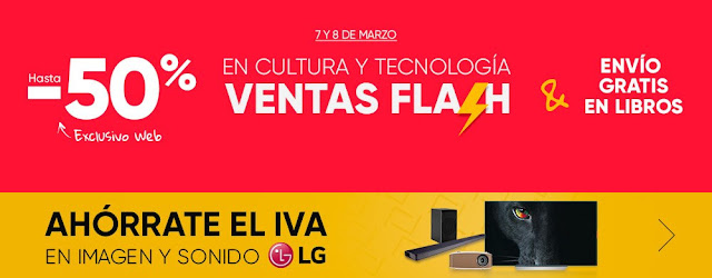 Mejores ofertas Ventas Flash y Ahórrate el IVA en LG de Fnac.es