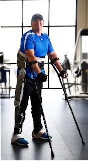 Brian Shaffer, who is paralyzed from the waist  down,  testing the Vanderbilt exoskeleton  at Shepherd Center's satellite facility in  Franklin, Tenn. (Joe Howell/Vanderbilt University)