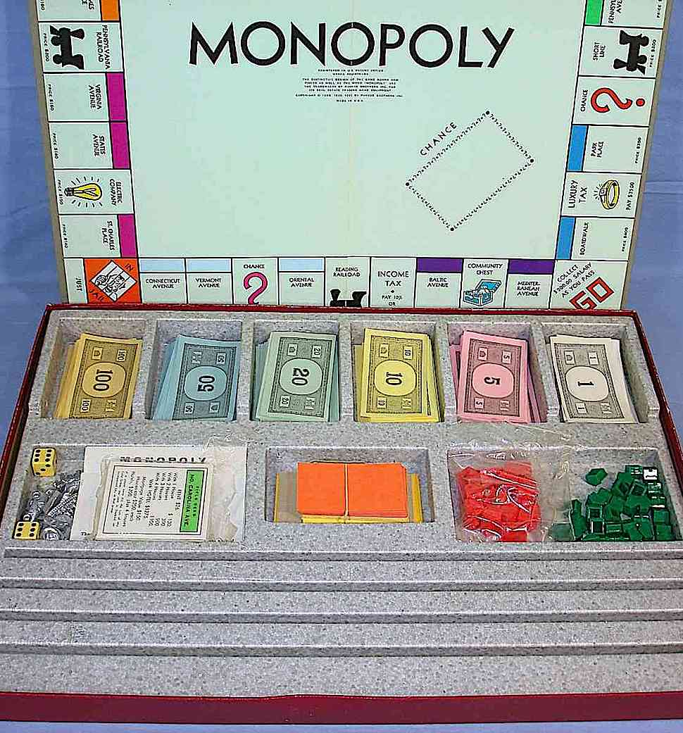 a 1964 Monopoly board game, color photograph of box and pieces