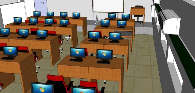 Contoh Desain Laboratorium Komputer Dengan Sketchup