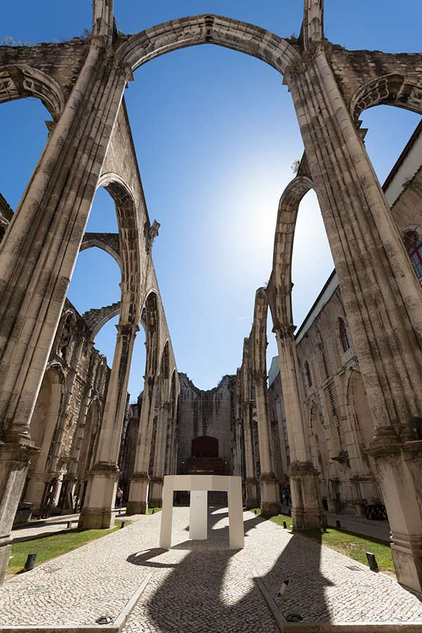 The ruins of the Convento do Carmo in Lisbon, Portugal