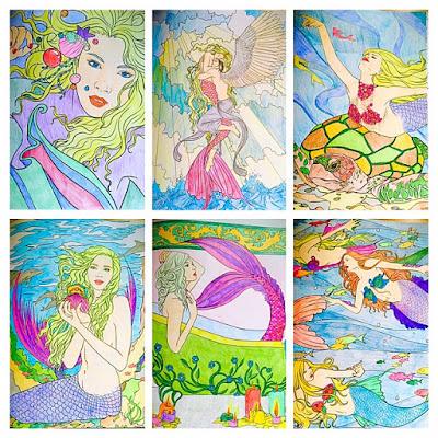 Mermaids adult coloring book