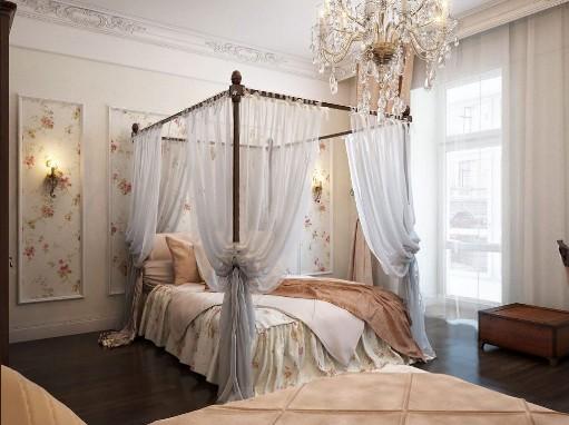 Romantische Schlafzimmer  Mit Himmelbett Inklusive Schöne Kristall Kronleuchter