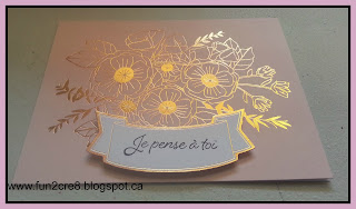 étampe français Carte Je pense à toi CTMH Thinking of you Carte Je pense à toi étampe français CTMH French card Close To My Heart gold pink