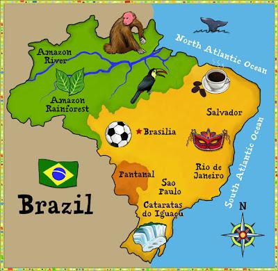 Mapa do Brasil em sites estrangeiros