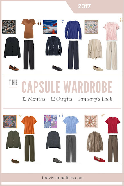 The first in a series of 6 monthly capsule wardrobes inspired by scarves