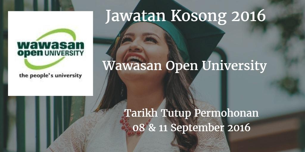 Jawatan Kosong Wawasan Open University 08 & 11 September 2016