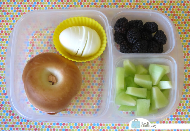 BentoLunch.net - Make Ahead Bento Lunches, Day 3, Breakfast for Lunch with Boiled Egg, Bagel and Fruits