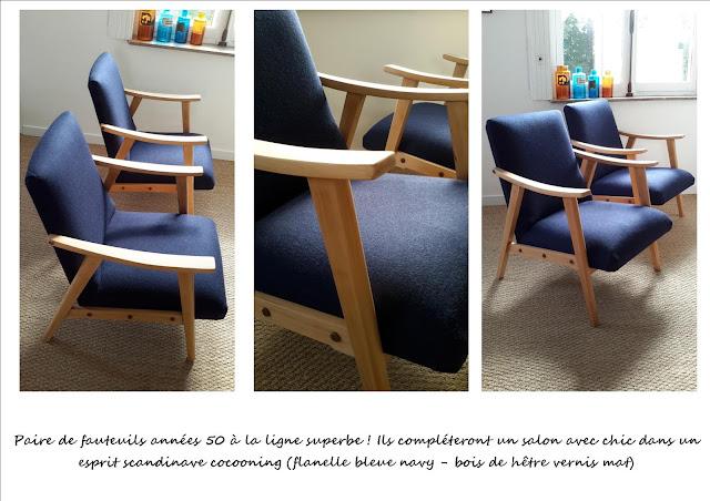 Paire de fauteuils vintage scandinave marine
