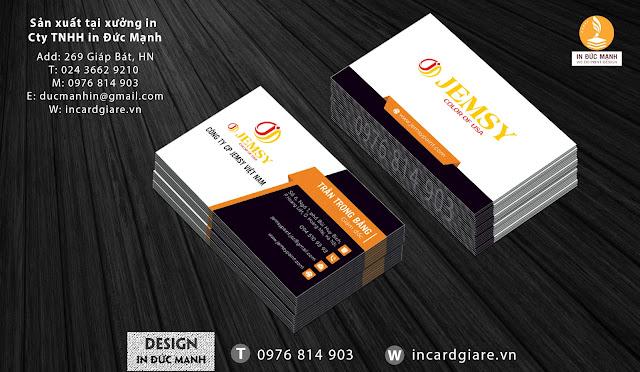 Mẫu card visit doanh nghiệp công ty Jemsy