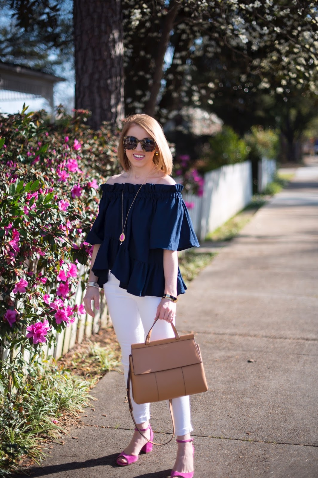 Navy & Pink Outfit - Something Delightful Blog