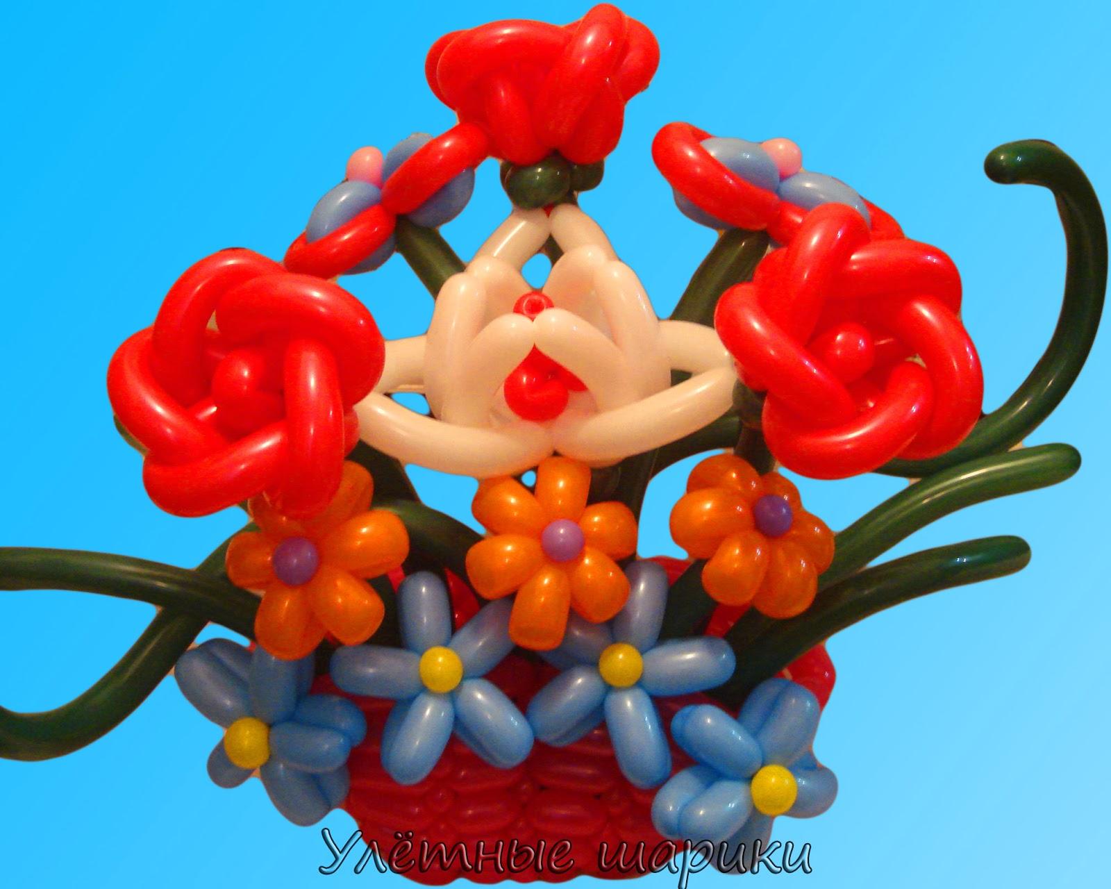 Корзина с цветами из воздушных шариков