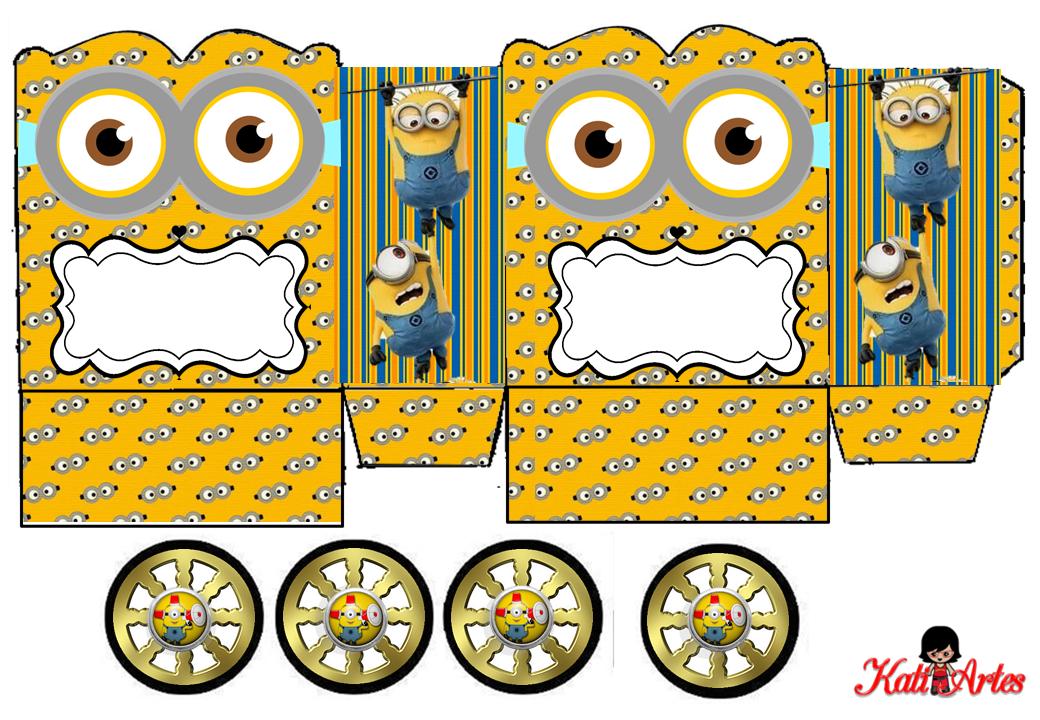 Minions: Caja con forma de Carruaje para Imprimir Gratis.