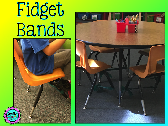Fidget Bands: students can fidget and move using green thera-bands tied around the front legs of chairs