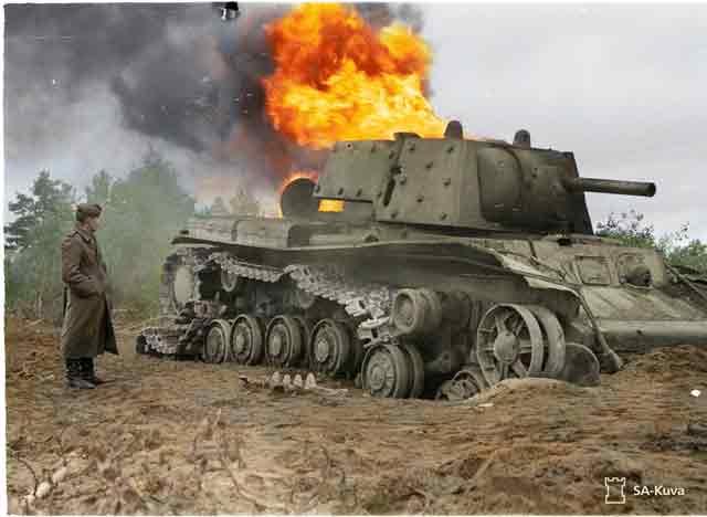 KV-1 tank burning on Finnish front, 9 September 1941 worldwartwo.filminspector.com