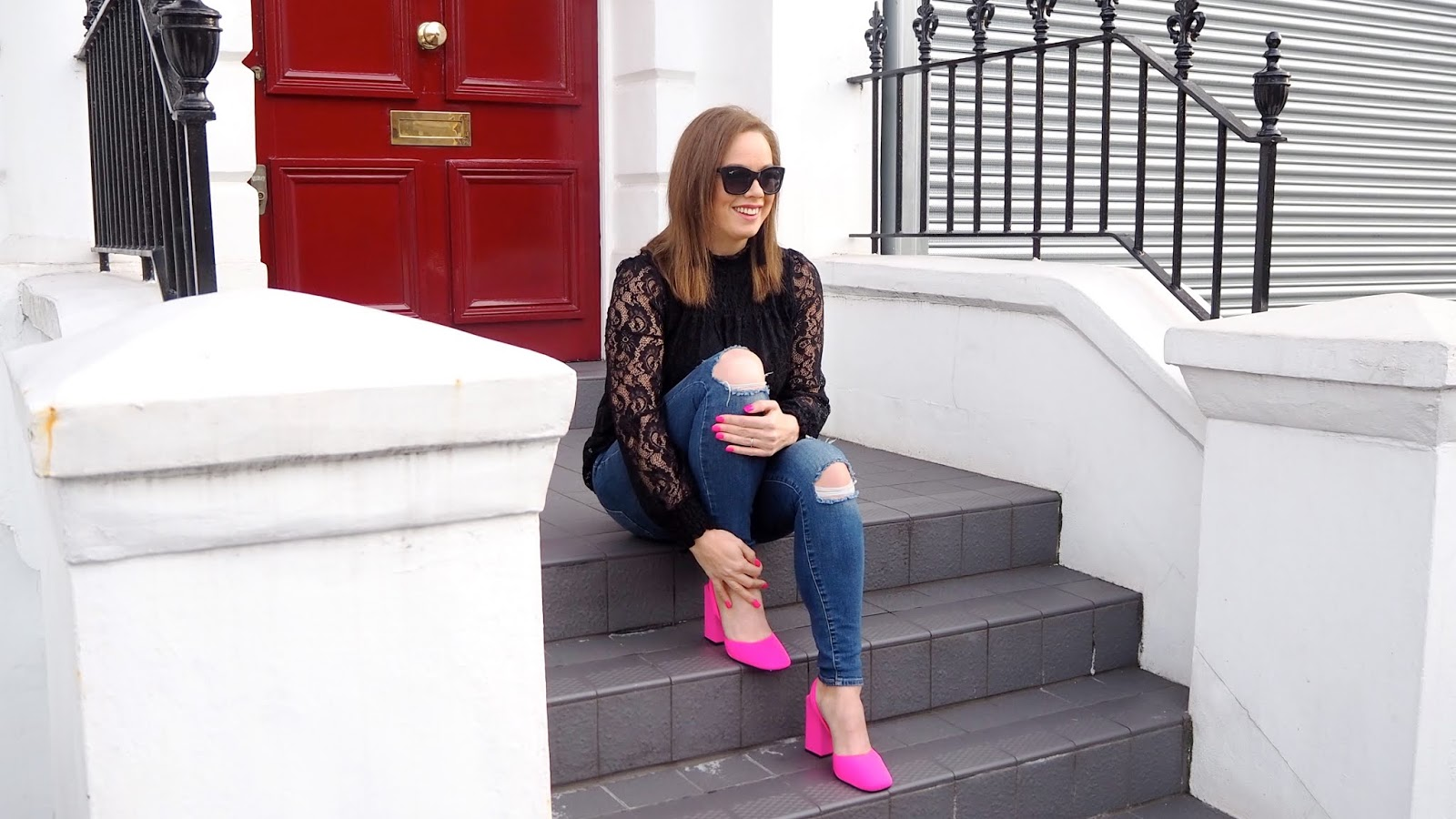 Neon pink slingback heels and neon pink nails