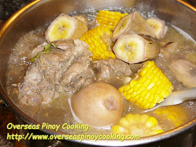 Pinoy Bulalo with Corn and Banana - Cooking Procedure