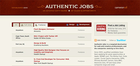 Athentic Jobs website