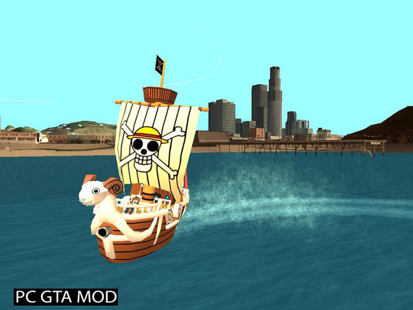 Free Download ONE PIECE (Going Merry) Ship controllable Mod for GTA San Andreas.