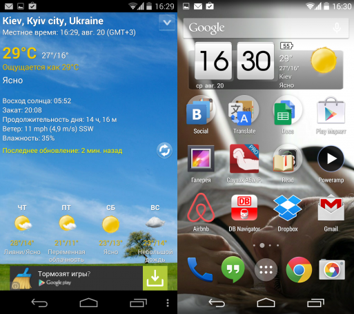 Популярные погодные приложения для Android