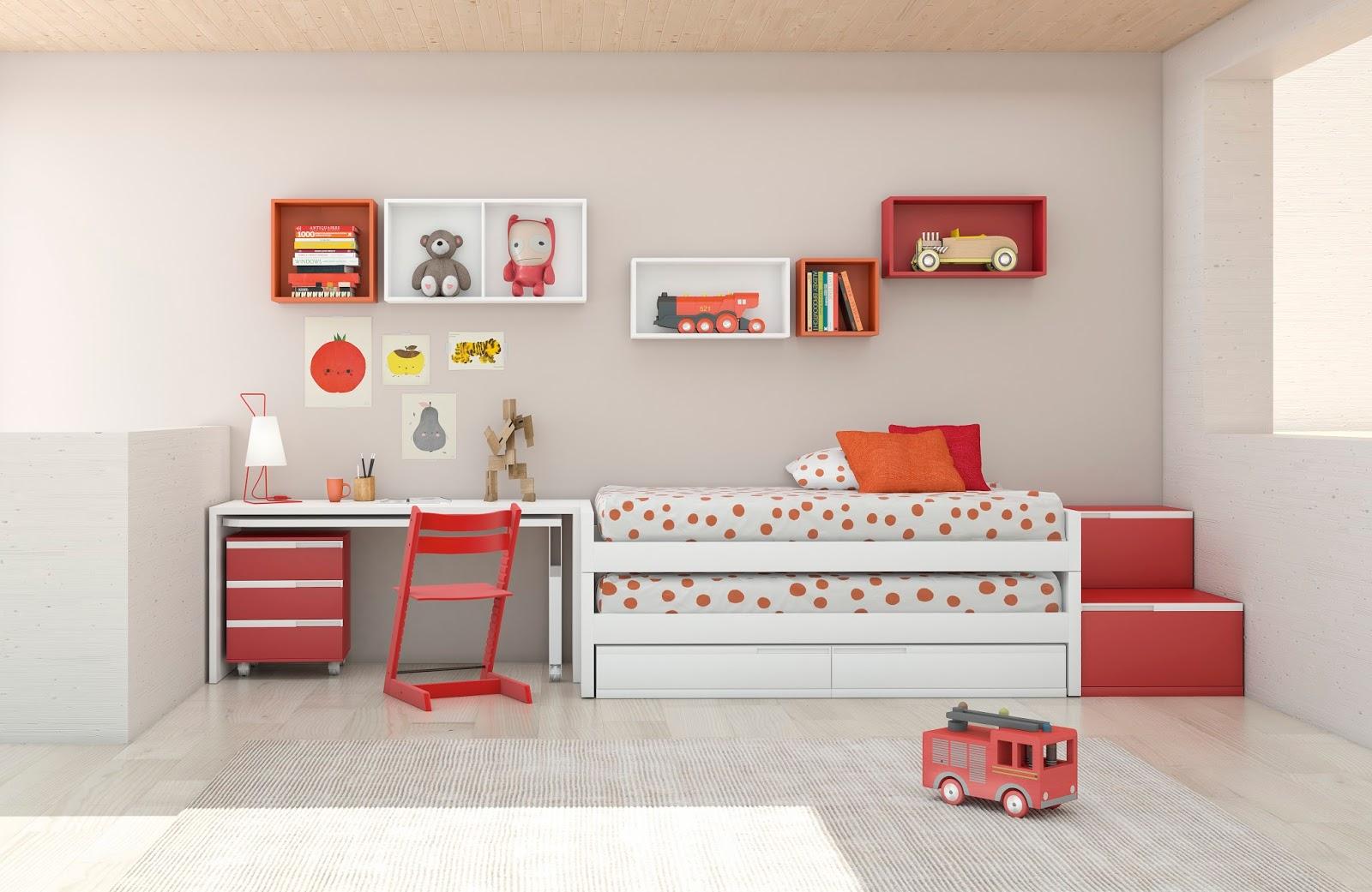 La zona de estudio en este dormitorio se ha acoplado al for Mueble cama doble