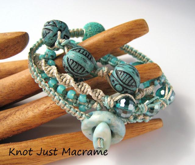 Micro macrame wrap bracelet by Sherri Stokey.