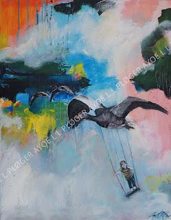 Art, kunst, maleri, flyver, ænder, gæs, farver, pige, forår,noget-til-væggen,acryl,sommerfugle, himmel